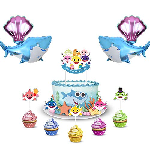 Baby Cute Shark Party Decorations Includes 1 Big Cake topper, 25 Cupcake toppers, 2 Shark Balloons and 2 Shell Balloons for Cake Decor, Baby Shower, 1st Birthday Decoration