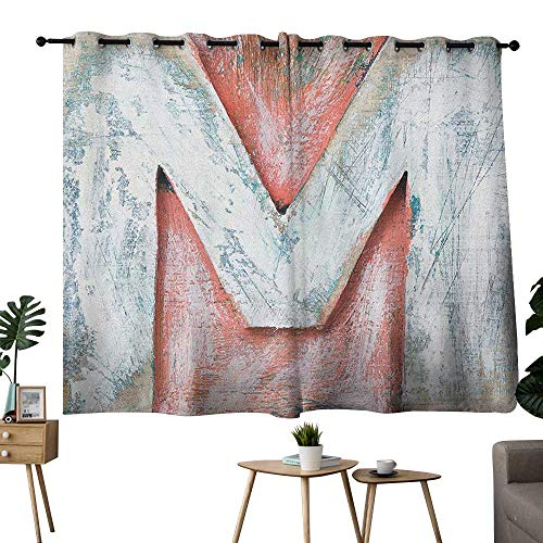bybyhome Letter M Grommets Curtains,Extra Darkening Curtains Old Wood Capital Letter M Natural Worn Out Look Texture Language Image Curtain Kitchen Coral White Cream W72 x ()