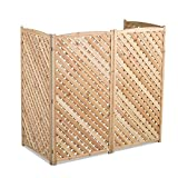 Natural Outdoor 4 Panel Wood 60'' Height Air Conditioner Screen Privacy Fence Hideaway