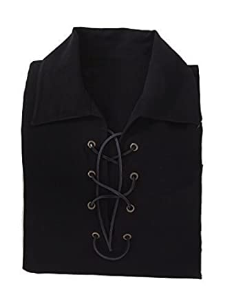 c7982e7c82c Deluxe Jacobite Culloden Jacobean Ghillie Shirt - Black. Own Brand. 7 Sizes  Available  Amazon.co.uk  Clothing