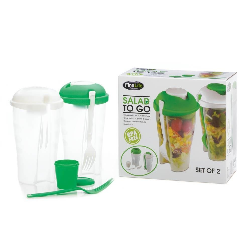 FineLife Products Salad to Go w/ Dressing Container and Fork (2 Sets) 13490