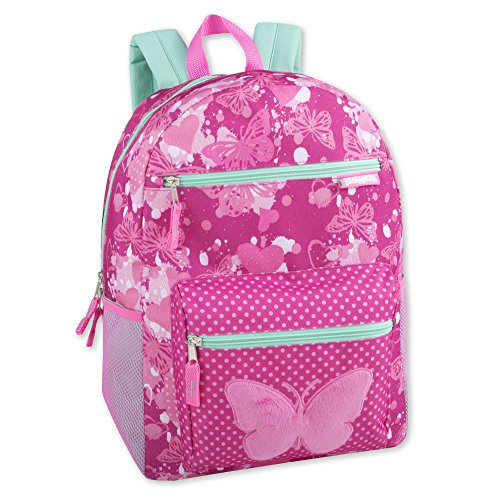 Girl's Backpack With Plush Applique And Multiple Pockets (Plush Butterfly) ()