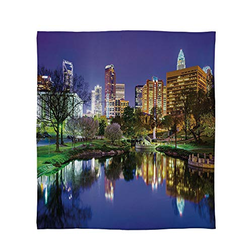 YOLIYANA Warm Flannel Blanket,City,for Folding Bed Crib, Stroller, Travel, Couch and Bed,Size Throw/Twin/Queen/King,North Carolina Marshall Park United States American - North Carolina State Crib