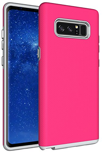 Rugged Pda Cases - Galaxy Note 8 Case, XRPow Dual Defender Protection Case Slim Rugged Shock Drop Proof Impact Resist Protective Cover for Samsung Galaxy Note 8 Hot Pink