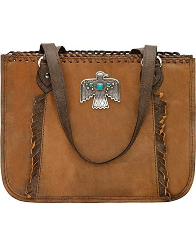 American West Women's Thunderbird Ridge Multi-Compartment Zip Top Tote Distressed Brown One Size by American West (Image #4)