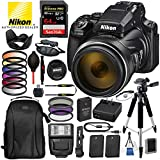 "Nikon COOLPIX P1000 Digital Camera with 125x Optical Zoom USA (Black) 16PC Accessory Bundle Package – Includes SanDisk 64GB Extreme Pro SDHC Memory Card + 2X Extra Battery + 57"" Tripod + More"