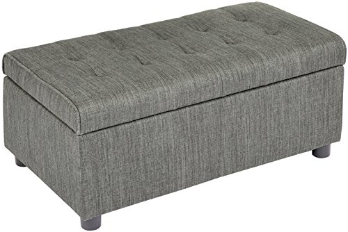 First Hill Arlos Rectangular Fabric Storage Ottoman with Tufted Design - Shadow Gray