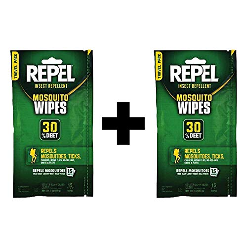 - Repel 94100 Sportsmen 30-Percent Deet Mosquito Repellent Wipes, 2Packs of 15 Count each
