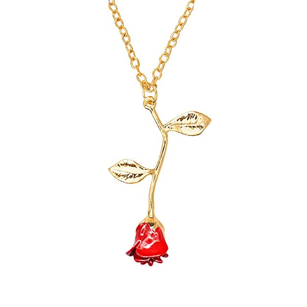MUZHE Charm 3D Red Rose Flower Pendant Necklace, Romantic Rose Flower Necklace for Women, Personalized Red Rose Statement Necklace for Girls, Gardeners Necklace