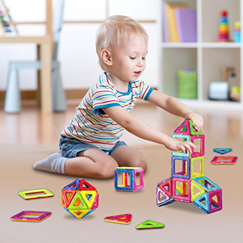 Happy Childhood Basic Set 50 Pieces Magnetic Building Blocks, Educational Magnetic Tiles, Magnetic Building STEM Toy Includes Wheels, Creativity Recreational Educational Toy for Kids by Happy Childhood (Image #6)