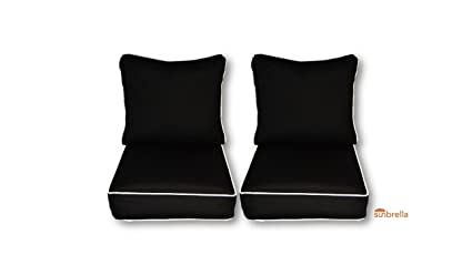 Amazon Com Sunbrella Black Cushions With White Piping Cording For