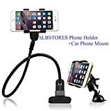 BESTEK Universal Gooseneck Cell Phone Holder Clip Holder + Car Suction Clamp Mount Applied to Home, Bed, Office,Car, Easy to Adjust Gooseneck
