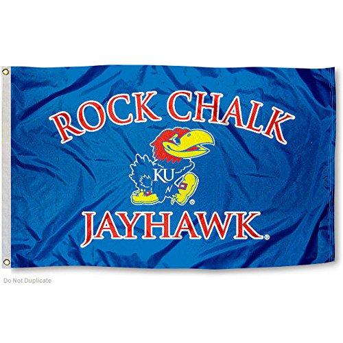 Kansas Jayhawks Rock Chalk KU University Large College Flag