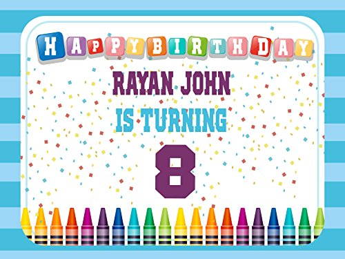 Custom Home Décor Crayon Birthday Banner - Size 24x36, 48x24, 48x36; Personalized Art and craft birthday, Paint, Crayon Party, Colorful Birthday Banner Wall Décor, Handmade Party Supply Poster Print from speedyorders