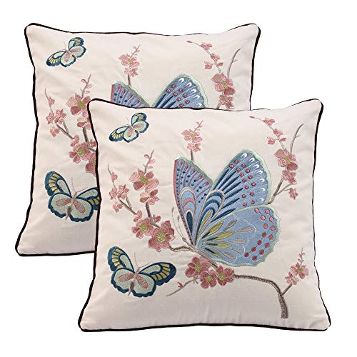 Oneslong Pack of 2 Blue Butterfly Pillow Covers 18x18 Inch Decorative Cushion Covers Embroidered Pink Flower Pillowcase for Couch Sofa Outdoor