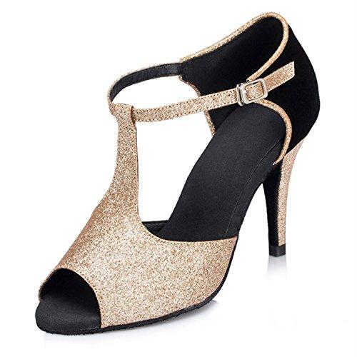 BYLE Sandalias de Cuero Tobillo Modern Jazz Samba Zapatos de Baile Zapatos de Baile Latino de Adultos de Verano Tira Zapatos Zapatos de Baile Latino de Oro Onecolor