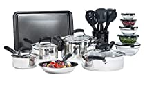 25-piece Stainless Steel Mega Cookware Set Cooking Kitchen Sets by Essential Home