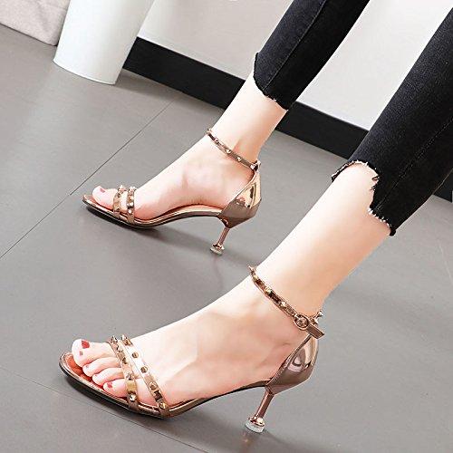 Xue Qiqi Alta scarpe tacco rugiada femmina-toe femmina-toe femmina-toe calzature donna bella con rivetti colore champagne con tirante asolato sandali,34, colore champagne c3b3bb