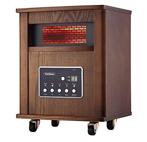 VonHaus Wood Electric 4 Element Infrared Fan Heater with Whe