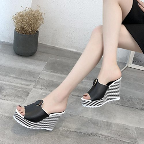 Muium Fashion Women Platform Sandals Black Slope Heeled Slippers Open Summer Stripe Toe High ppwqr60