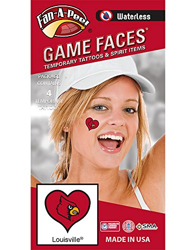 - NCAA Louisville Cardinals 4-Pack I Love My U Temporary Tattoos