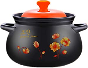 LGR Ceramic Slow Stew Pot with Lid,Round Casserole Clay Pot,Healthy Not-Stick Stockpot Soup Pot,Hot Pot,Slow Cooker,Stovetop Ceramic Cookware Black 28x19cm(11x7inch)