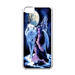 [Tony-Wilson Phone Case] For Iphone 5c -IKAI0448103-Wolf,Wolves and Moon Pattern