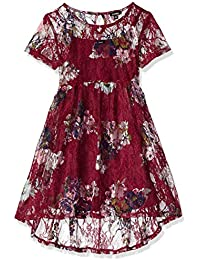 Zunie Big Girls' Shtslv Lace Babydoll Dress with Back Clip