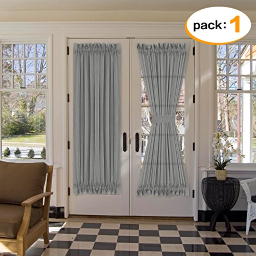 French Toile Curtains (H.Versailtex Functional Rod Pocket Home Decorative Linen Sheer Door Panel, Airy and Breathable Natural Linen Blended Curtain Panel for French Door, Set of 1, 52 x 72 - Inch - Grey)
