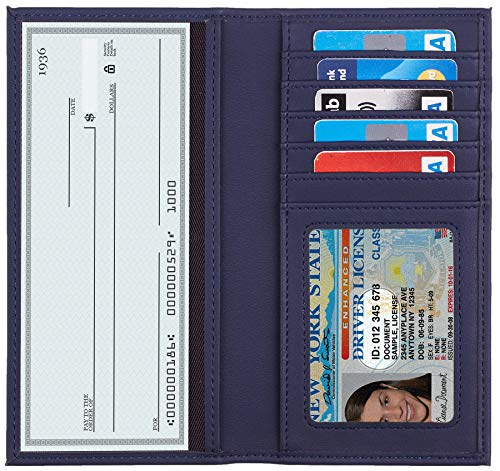 Toughergun Vegan Leather Checkbook Cover For Men & Women Card Holder Wallet RFID Blocking (Access Blue Navy) (Womens Checkbook Wallets Leather)