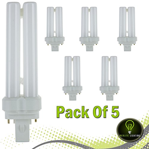 Perlite Lighting 22 Watt FDL 2-Pin Quad Tube,GX32D-2 Base,5000K- Super White ,Light Bulb - Pack Of 5 (Watt Quad 22 Compact Tube)