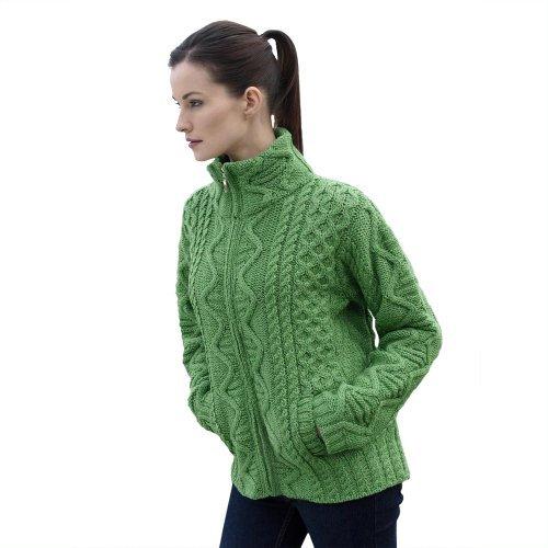 100% Irish Merino Wool Aran Knit Zip Sweater with pockets by West End Knitwear, Green, Large -