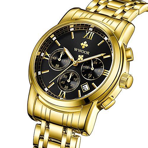 WWOOR Men's Watch Sports Watch Chronograph Waterproof Analog Quartz Watch Stainless Steel Business Date Casual Big Face Gift Watch (Black)