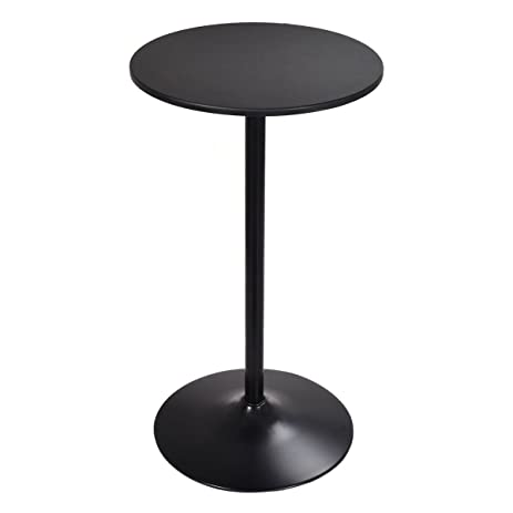 Costway High Table Pub Bar Table Bistro Round Top Black, 42 Inch Height
