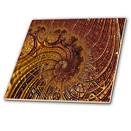 3dRose ct_273399_2 Image of Fractal Abstract of Copper Whirls and Lines Ceramic Tiles, 6