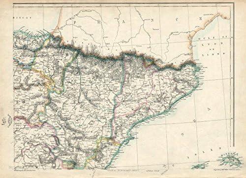 España NE. CATALUÑA Aragon Navarra. barcelona-zaragoza Ferrocarril. Weller – 1863 – Old Antiguo Mapa Vintage – Mapas de Impreso de España: Amazon.es: Hogar