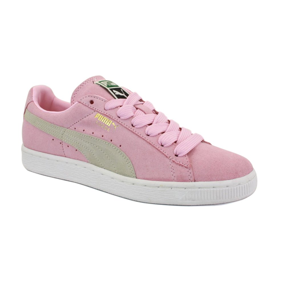 3475238e Puma Suede Classic 355686 01 Womens Laced Suede Trainers Pink White ...