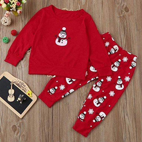 27ee15394 Iuhan Christmas Newborn Baby Girl Boy Outfits Clothes Print T-shirt Tops+ Pants Set