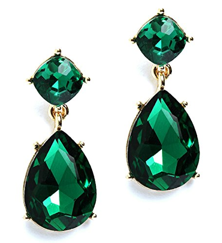 Heirloom-Finds-Faceted-Green-Crystal-Teardrop-Dangle-Earrings-in-Gold-Tone