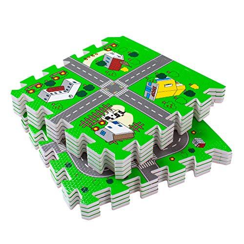 BodenMax Puzzelmat met Stad en Straten voor Baby's en Kinderen – Speelmat, Kruipmat en Kinderspeeltapijt 30x30x1 cm (18…
