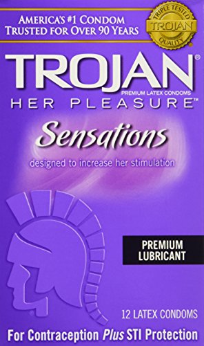 Trojan Her Pleasure Sensations Lubricated Latex Condoms-12 ct (Quantity of 3)