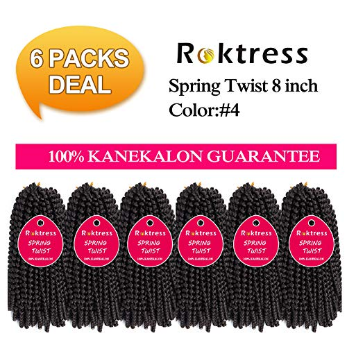 Spring Twist Crochet Braids Real Kanekalon hair 6 Pcs In packs Bomb Twist Crochet Hair Ombre Colors Synthetic Fluffy Hair Extension 8 inch (8inches, 4#)