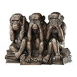 Design Toscano Hear-No, See-No, Speak-No Evil Monkeys Animal Statue Three Truths of Man Figurine, 7 Inch, Polyresin, Bronze Finish