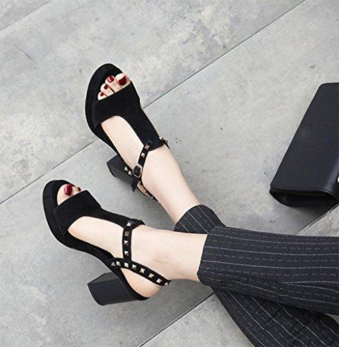 T remaches zapatos de tacón alto, sandalias de las mujeres gruesas sandalias impermeables Black