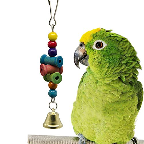 Glumes Bird Parrot Toys Macaw Cockatoo African Grey Natural Wooden Block Hammock Swing Cage Hanging Chewing Toy ()