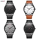 TYF Men Classic Watches Leather Strap Simple Dial Date Calendar Analogue Display Wrist Watch