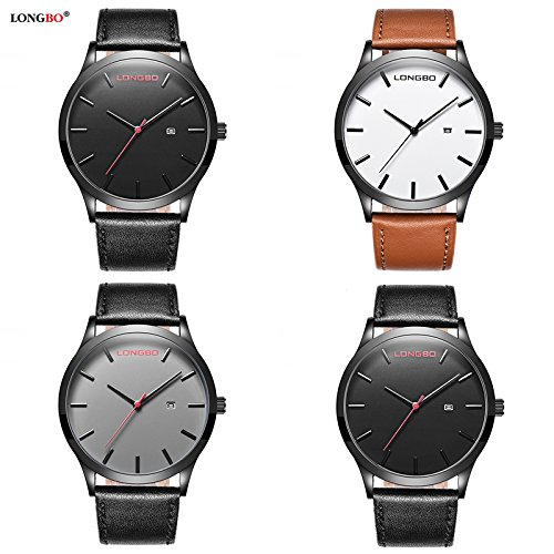Gets Men Classic Watches Leather Strap Simple Dial Date Calendar Analogue Display Wrist Watch (Brown) by Gets (Image #6)