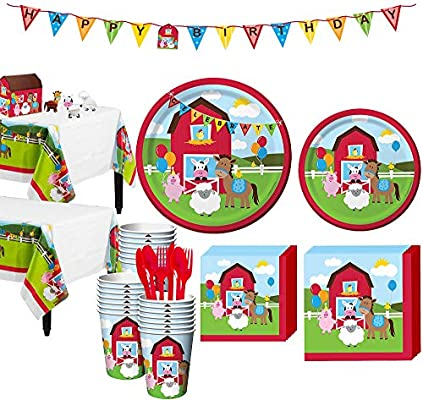 Amazon Party City Farmhouse Fun 1st Birthday Kit For 32 Guests Includes Table Covers Decorating And Banner Kitchen Dining