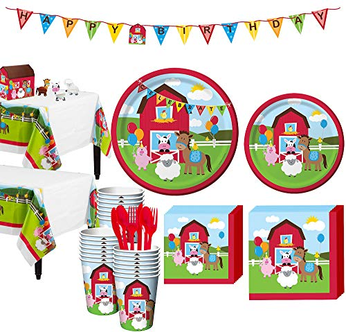 (Party City Farmhouse Fun 1st Birthday Party Kit for 32 Guests, Includes Table Covers, Table Decorating Kit and)