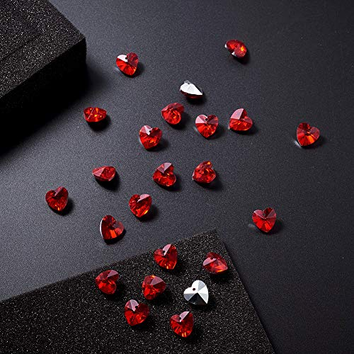 Craftdady 100Pcs Faceted Glass DarkRed Sweet Heart Charms 14x14mm with Silver Plated Back for DIY Jewelry Craft Making